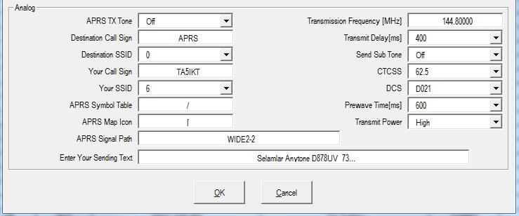 Anytone AT-D878UV Analog APRS kullanımı… – TA5IKT